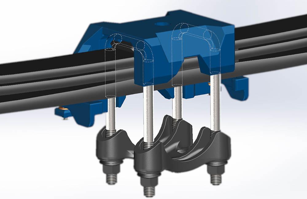 Slika 1: Pomoćni alat pomaže u preciznom pozicioniranju U-vijaka kako bi stražnja osovina i U-vijak mogli biti sklopljeni brzo i bez greške